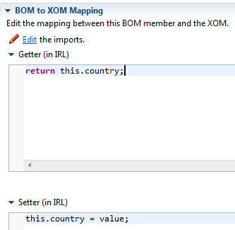 BOM to XOM mapping sample