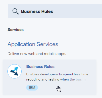 Bluemix Business Rules service