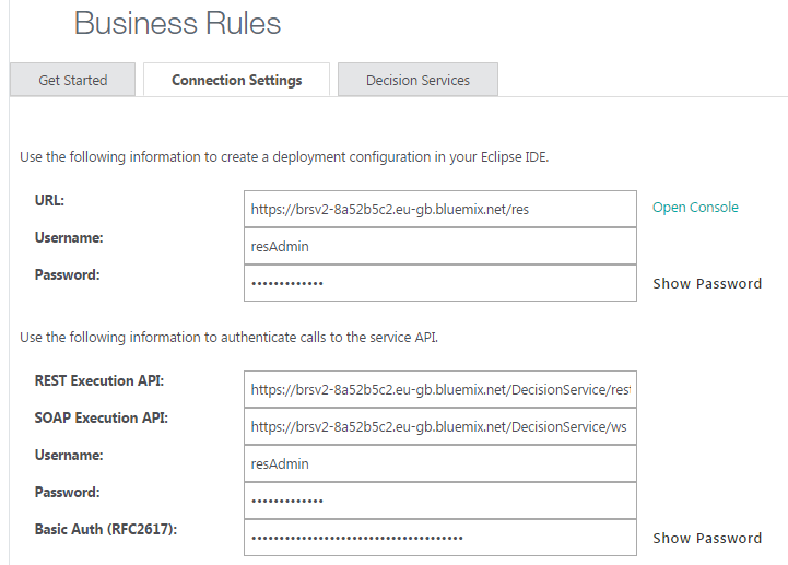 Bluemix business rules connection details