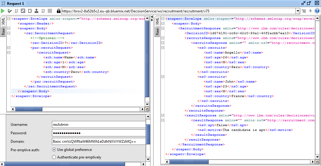 SoapUI Bluemix RES sample