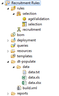 ibm odm populate decision table folder structure sample