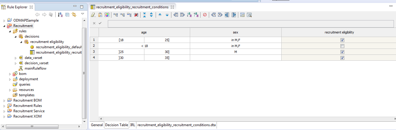 decision composer in rule designer integration